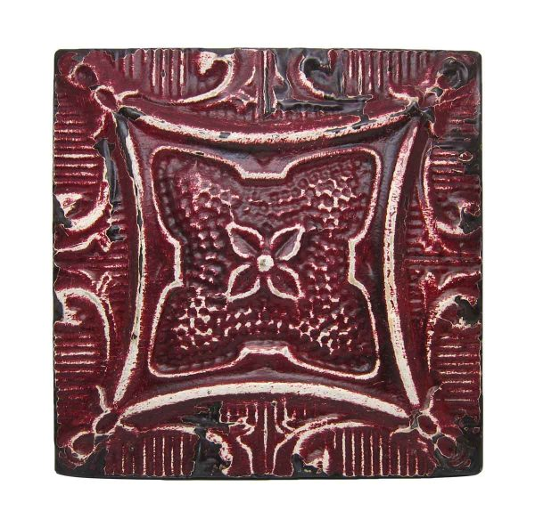 Red 4 Leaf Tin Antique Panel - Tin Panels
