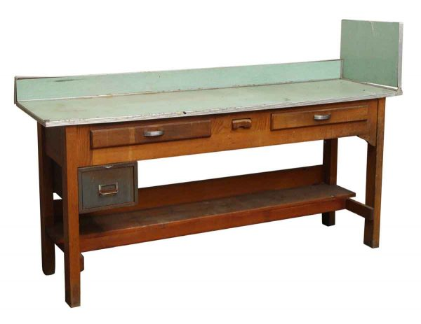Maple Work Table with Green Top - Industrial