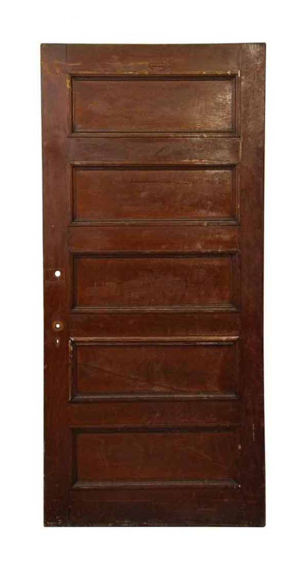 Dark Wooden Five Panel Door - Standard Doors
