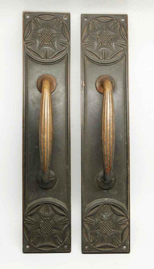 Pair of Bronze Yale Floral Door Pulls - Door Pulls