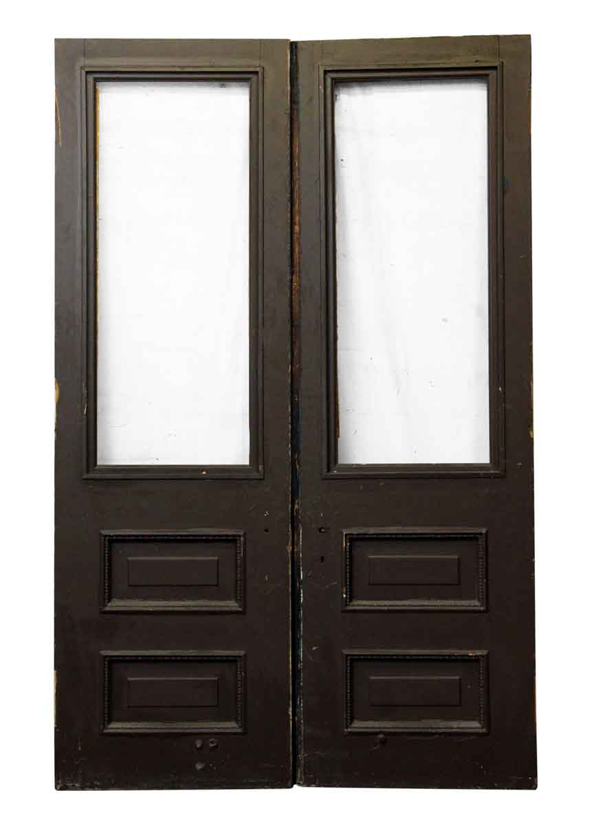 Pair Of Wood Entry Doors With One Glass Panel Olde Good Things