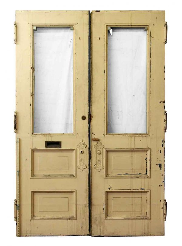 Pair of Tan Wood Entry Doors - Entry Doors