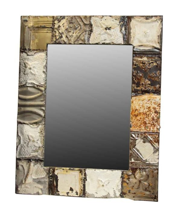 Mixed Pattern Gray & Brown Tin Mirror - Antique Tin Mirrors