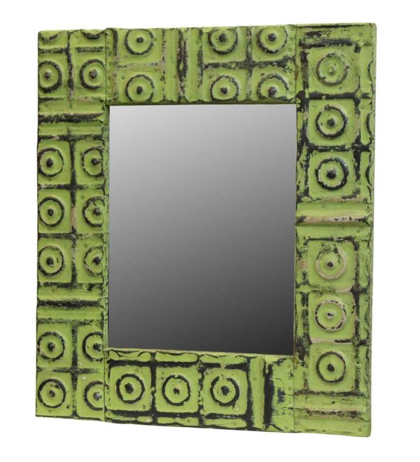 Green Bulls Eye Tin Mirror - Antique Tin Mirrors