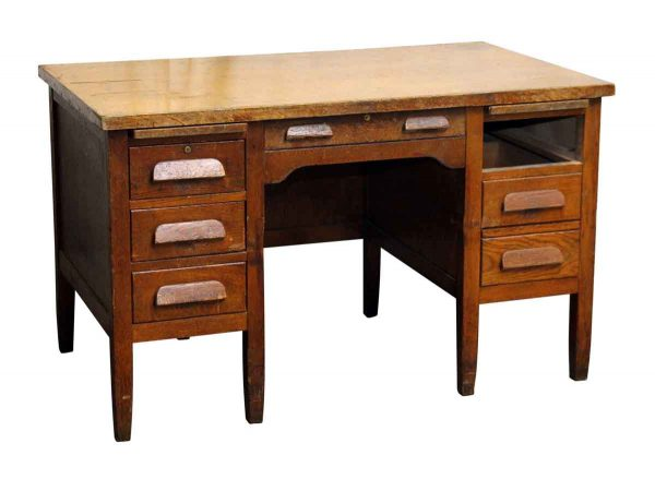 Tiger Oak Wood Teacher's Desk - Office Furniture
