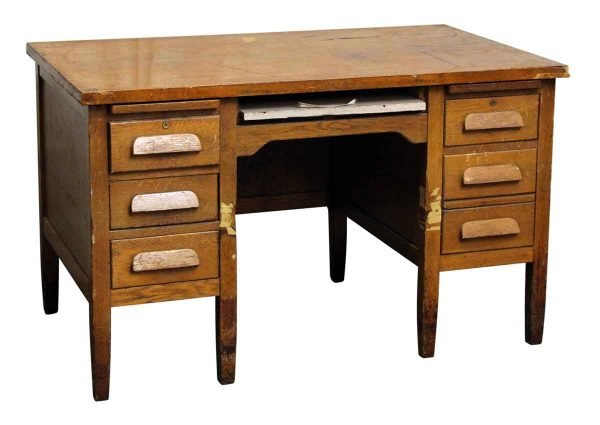 Solid Tiger Oak Teacher's Desk - Office Furniture