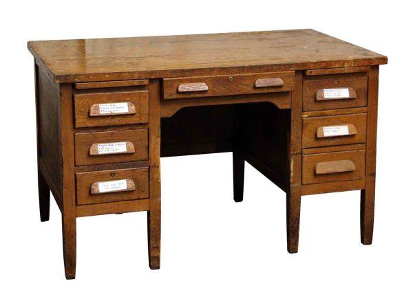 Tiger Oak Solid Wood Teacher's Desk - Office Furniture