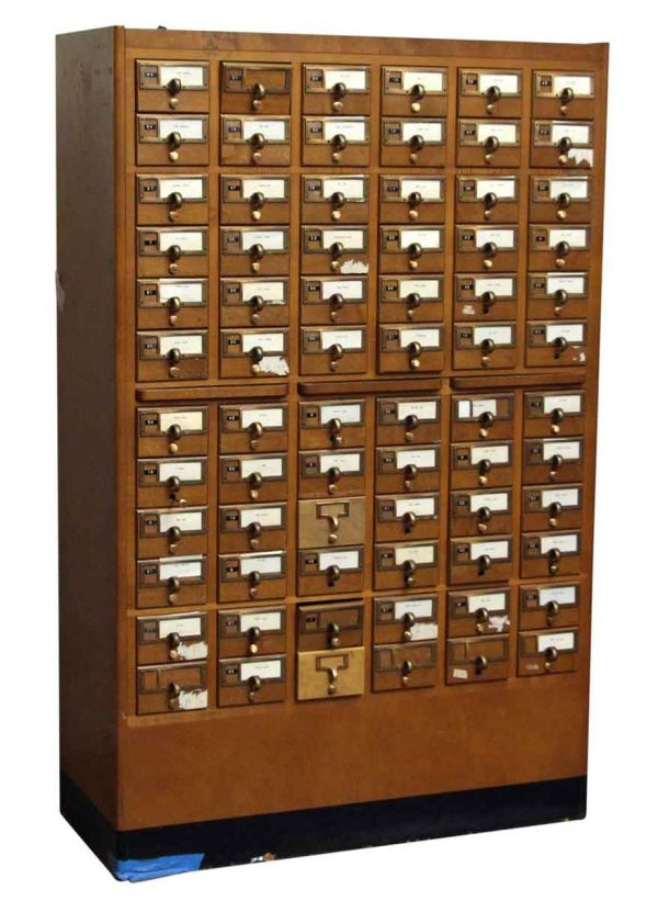 Solid Walnut Card Catalog with Brass Hardware - Office Furniture