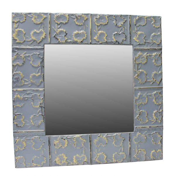 Blue Leafy Tin Mirror - Antique Tin Mirrors