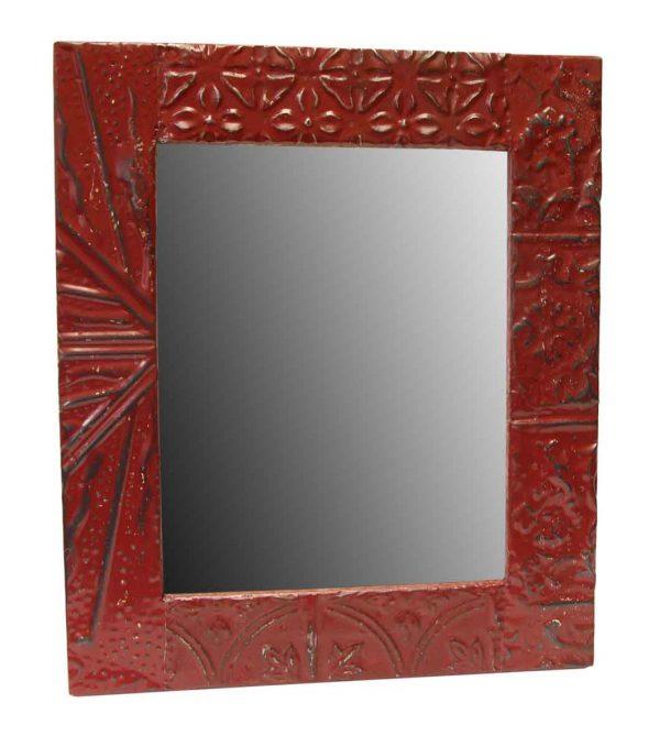 Red Tin Mixed Pattern Mirror - Antique Tin Mirrors