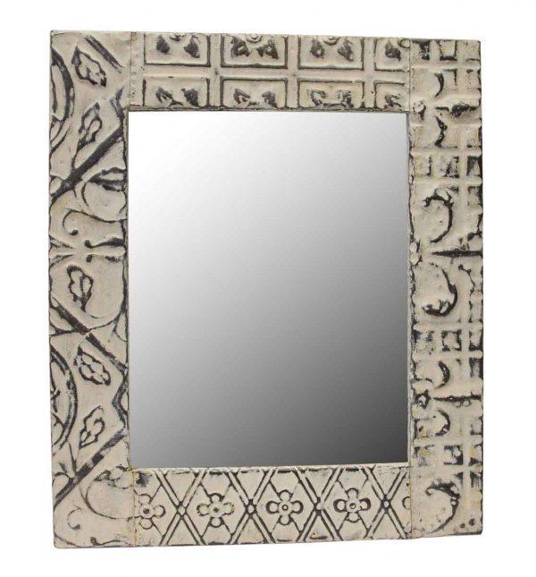 Mixed Tin White Antique Mirror - Antique Tin Mirrors
