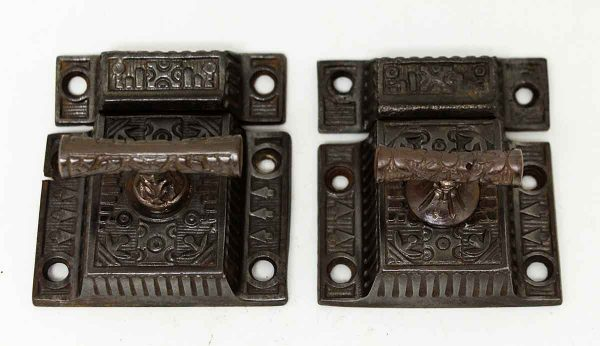 Pair of Aesthetic Iron Latches - Cabinet & Furniture Latches