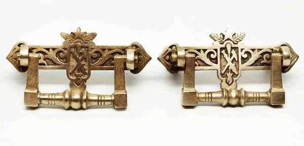 Pair of Polished Bronze Pulls - Cabinet & Furniture Pulls