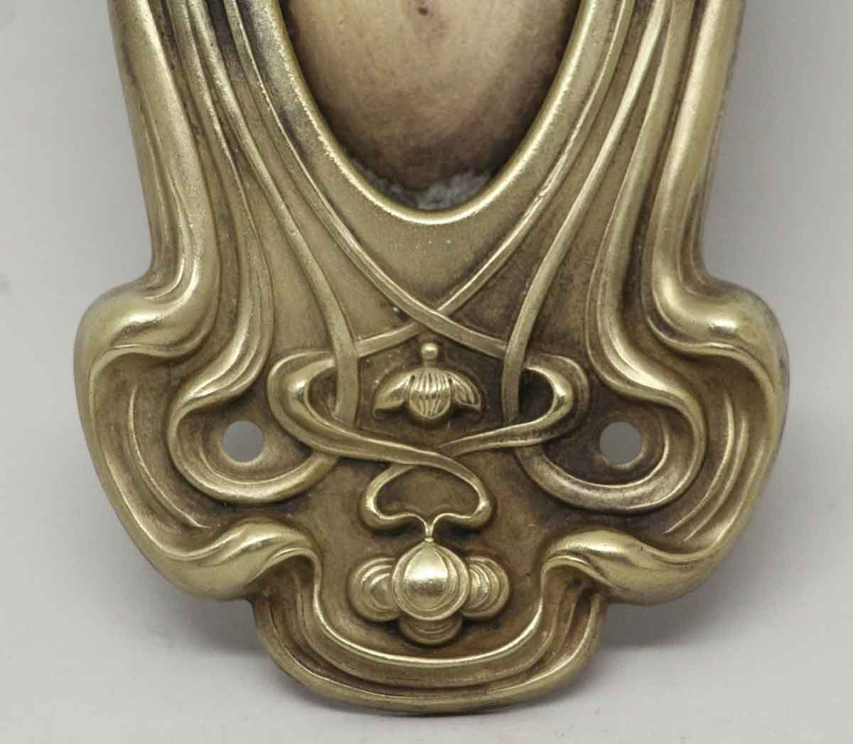 Art Nouveau Brass Pocket Door Pull with Keyhole - Art Nouveau Brass Pocket Door Pull With Keyhole Olde Good Things