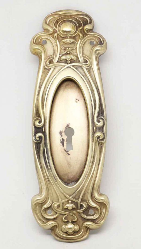 Art Nouveau Brass Pocket Door Pull with Keyhole - Pocket Door Hardware