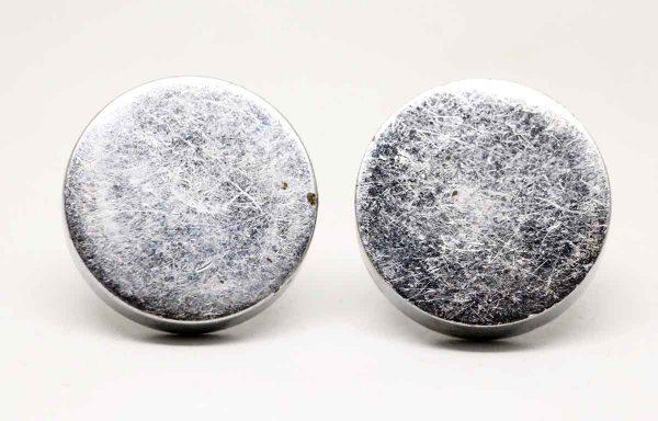 Pair of Round Chrome Plain Knobs - Cabinet & Furniture Knobs