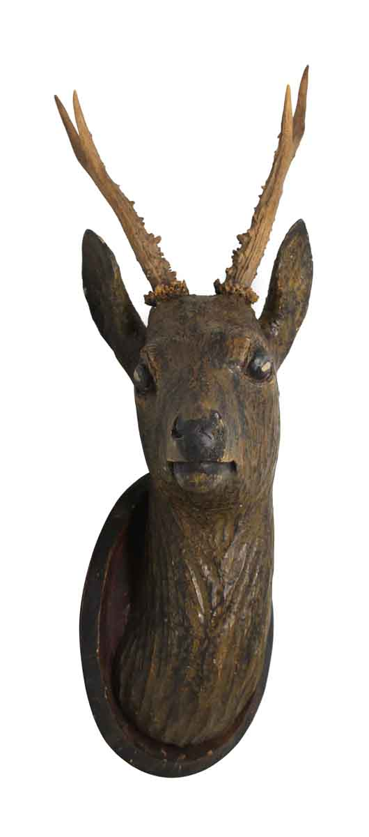 Carved Wooden Deer Mount - Taxidermy