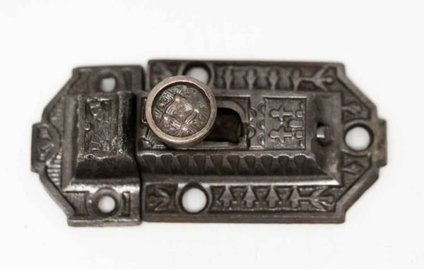 Cast Iron Latch with Basket Weave Button - Cabinet & Furniture Latches