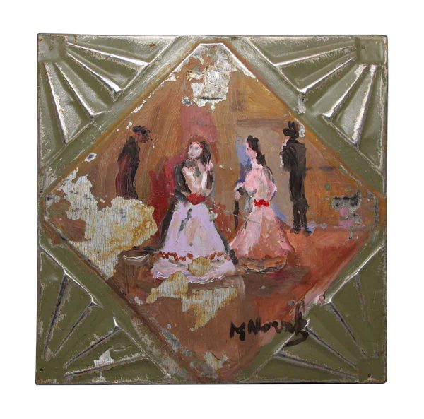 Painted Novak Tin Panel of Women - Hand Painted Panels