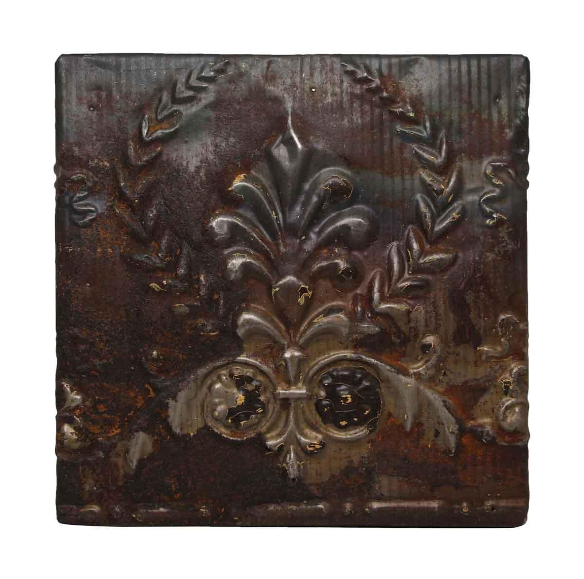 Fleur De Lis Brown Tin Panel - Tin Panels