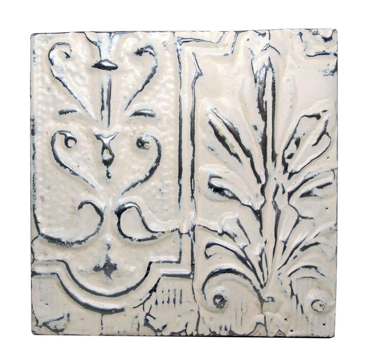 Asymmetrical Floral Off White Panel - Tin Panels