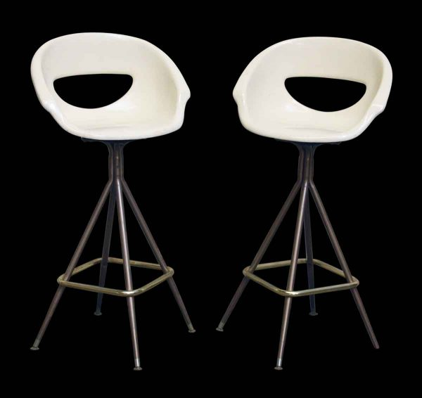 Pair of White Bucket Seat Stools - Seating
