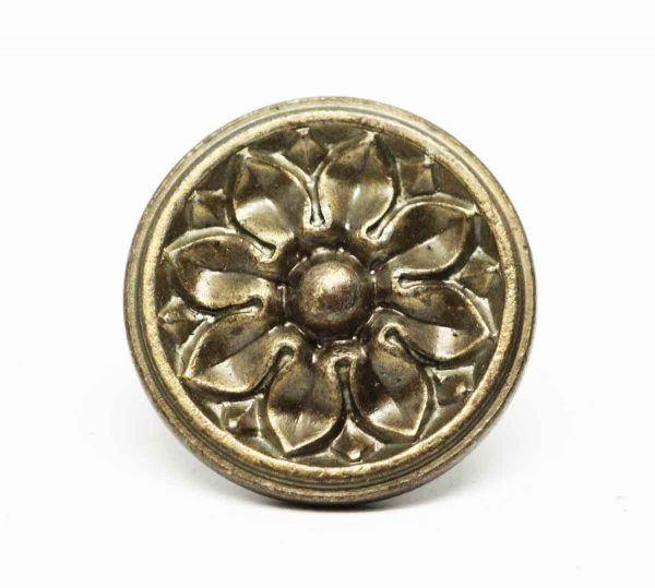 Small Round Brass Floral Knob - Cabinet & Furniture Knobs