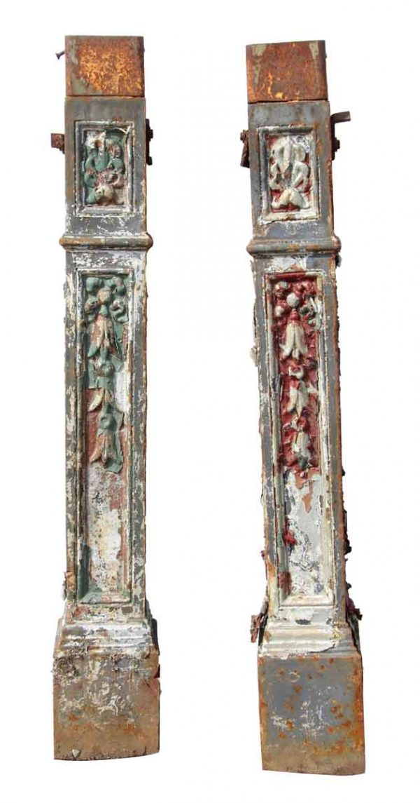 Pair of Square Newel Posts with Distressed Paint - Fencing