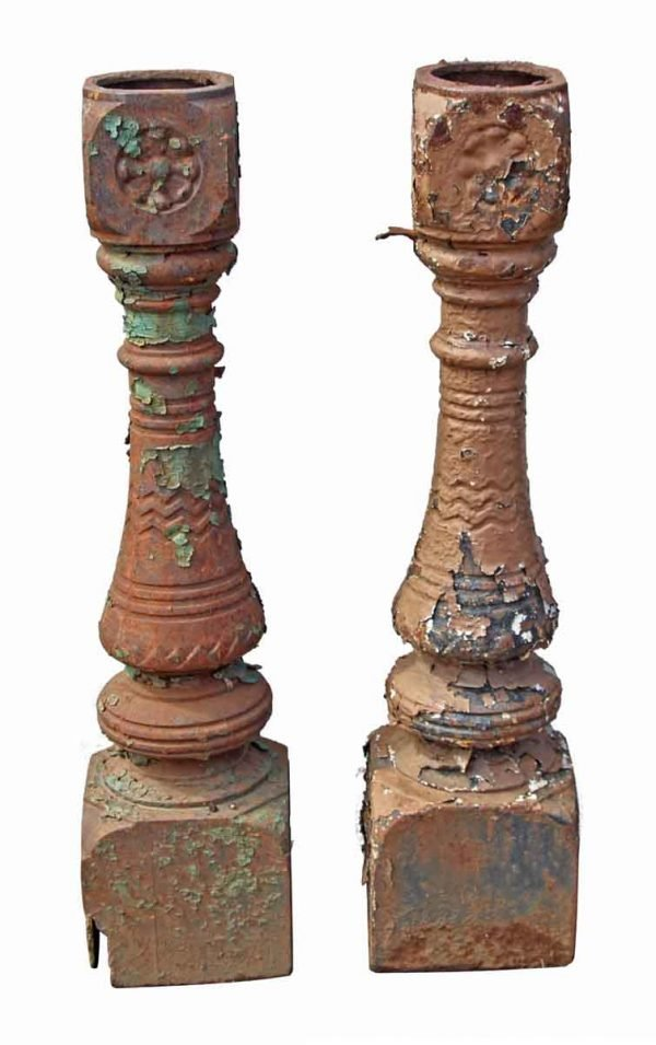 Pair of Worn Newel Posts - Fencing