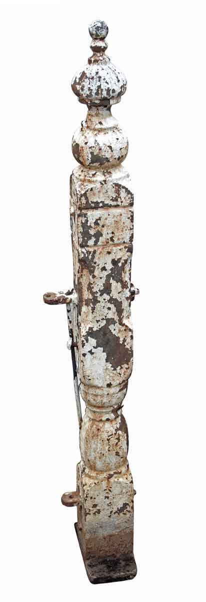 Ornate Cast Iron Newel Post with Distressed White Paint - Fencing