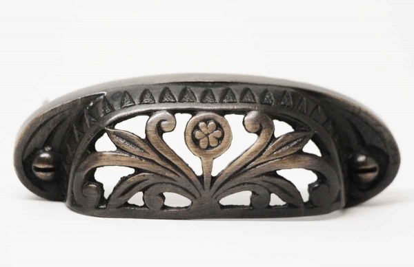Single Eastlake Ornate Cast Iron Cup Pull - Cabinet & Furniture Pulls