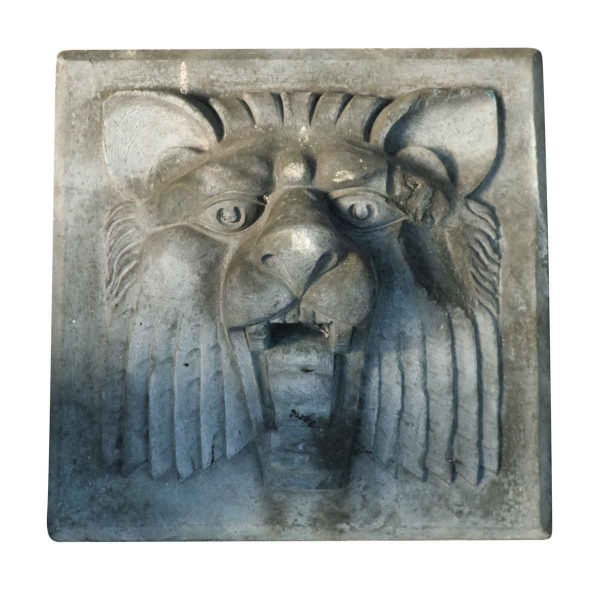 Square Lion Head Stone - Stone & Terra Cotta