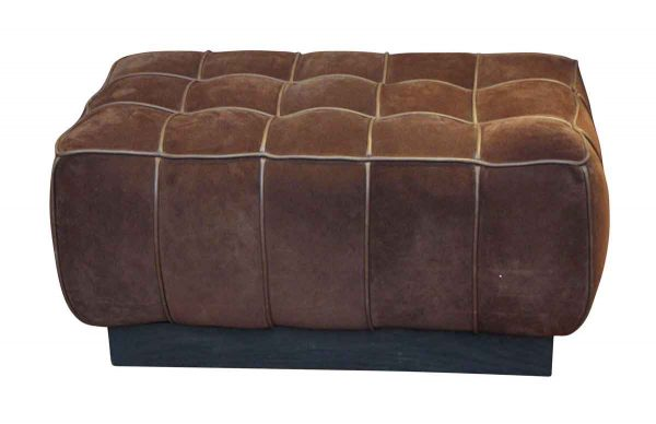 Brown Suede Ottoman - Seating