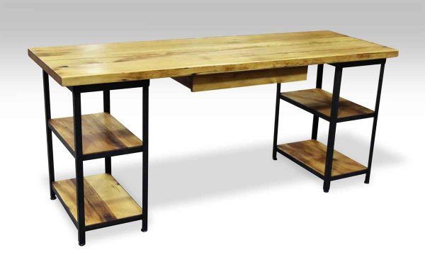 Pine & Metal Custom Desk with Shelves & Drawer - Farm Tables