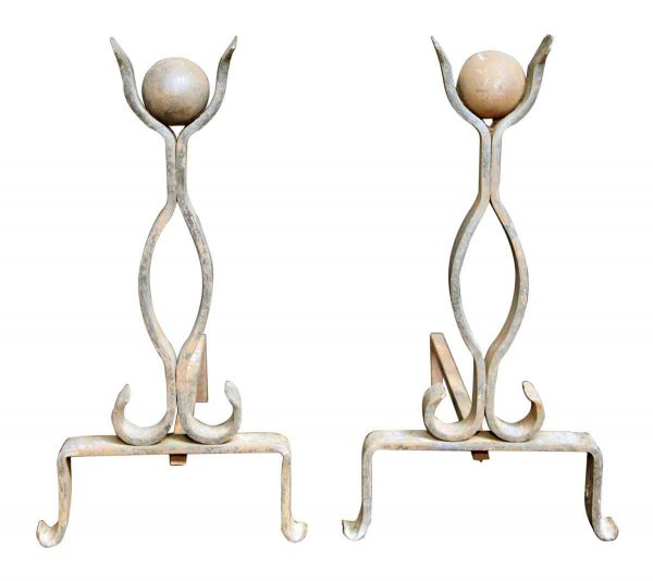 Pair of Andirons with Ball Finials - Andirons