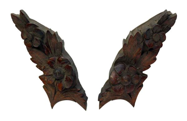 Pair of Carved Wooden Wings Accents - Applique