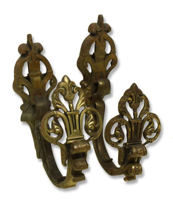 Pair of Bronze French Ornate Curtain Tiebacks - Curtain Hardware