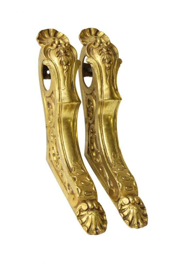 Set of Six Gold Finished Cast Bronze Bar Brackets - Curtain Hardware