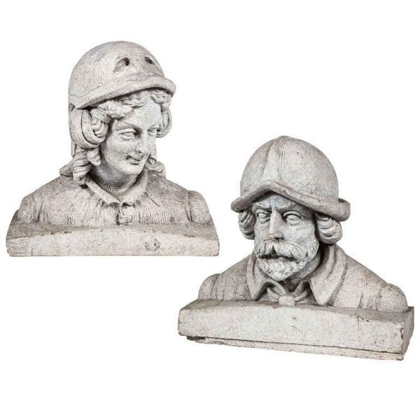 Terra Cotta Figural Busts of a Man & Woman - Stone & Terra Cotta