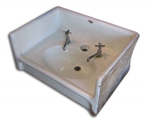Earthenware Sink with Triple Sided Back Splash - Bathroom