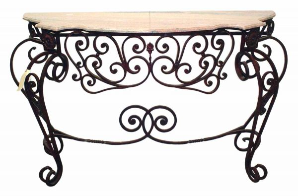 Wrought Iron Console With Marble Top - Entry Way