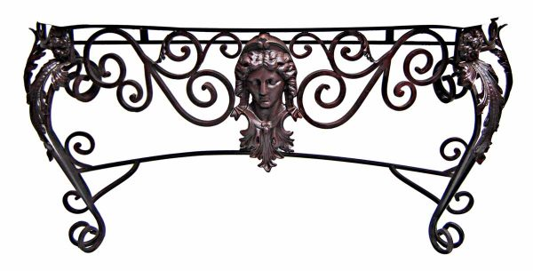 Figural Iron Console with Antique Marble Top - Entry Way