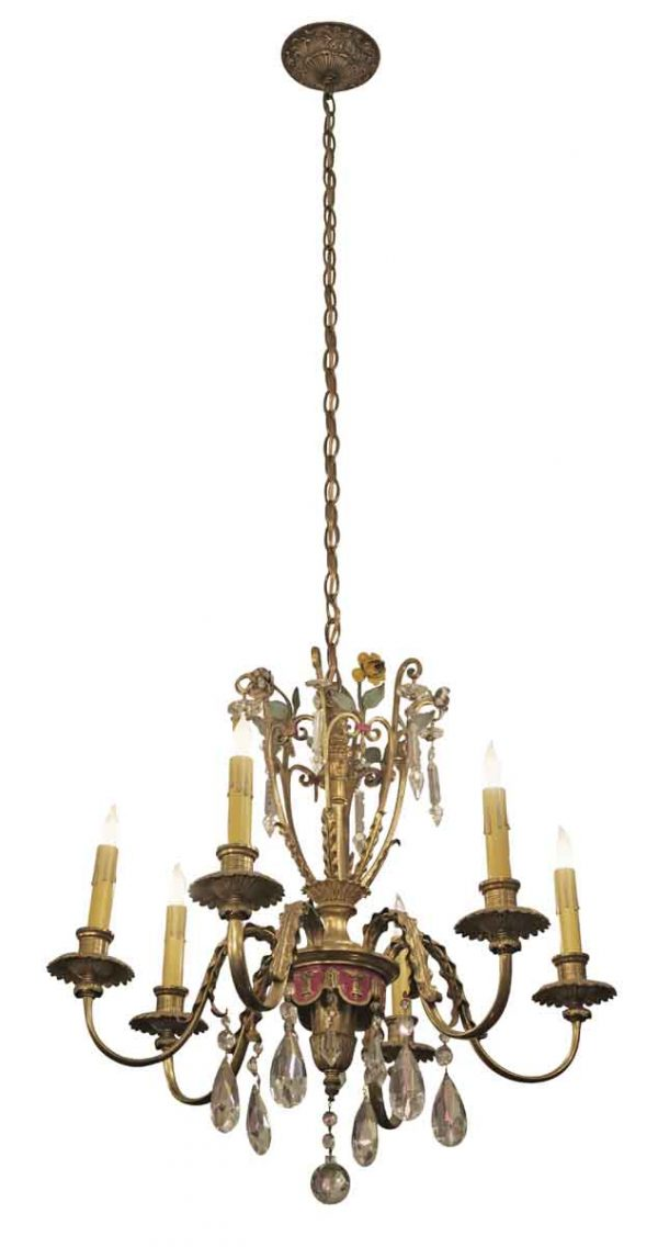 Elegant Six Light Chandelier with Floral Motif - Chandeliers