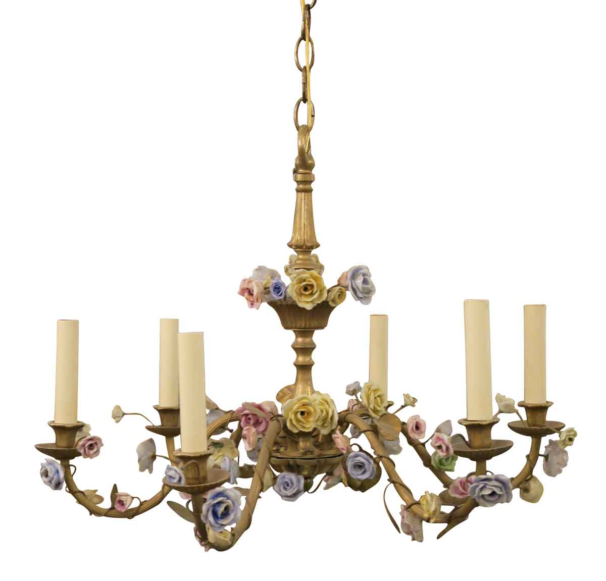 1920s french louis xvi six arm floral chandelier with porcelain 1920s french louis xvi six arm floral chandelier with porcelain flowers arubaitofo Gallery