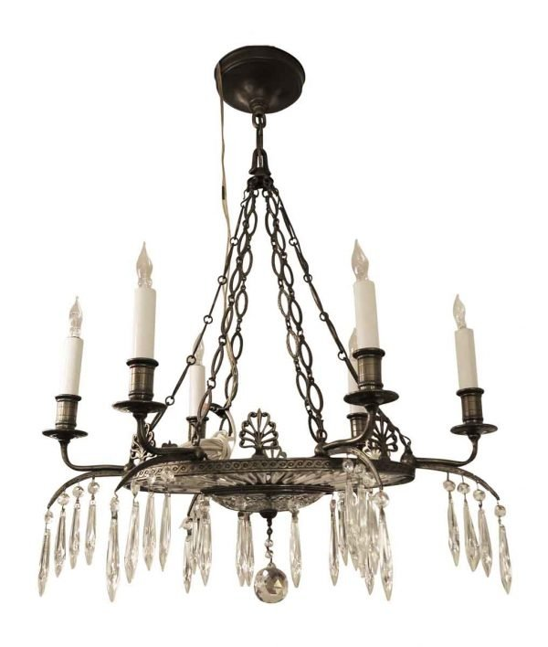1900s Baltic Patinated Bronze Crystal Chandelier by EF Caldwell - Chandeliers