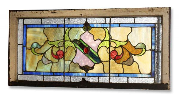 Salvaged Transom Stained Glass Window with Shield - Stained Glass