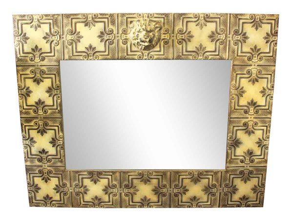 Cream Four Leaf Tin Mirror with Lion Head - Antique Tin Mirrors