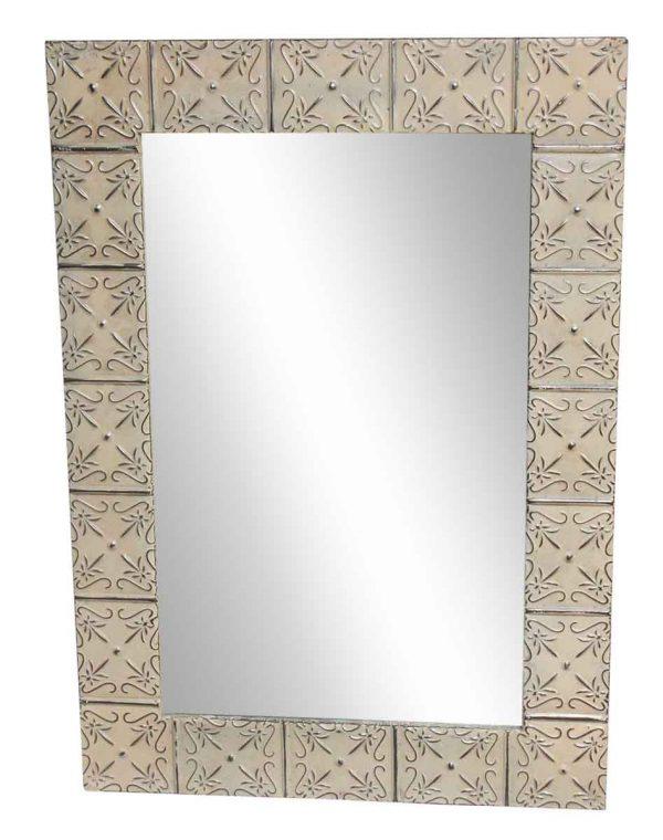 Interactive Cream Petals Tin Mirror - Antique Tin Mirrors