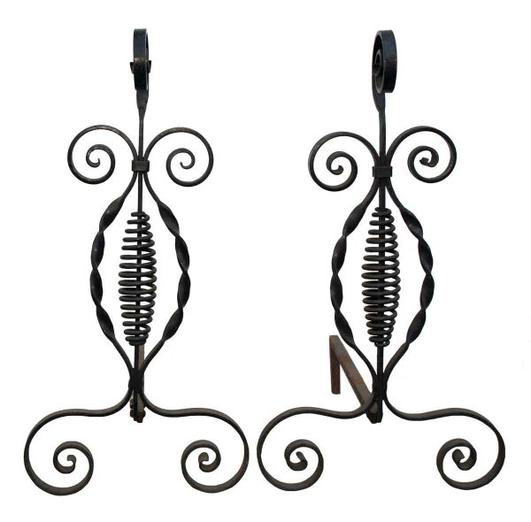 Pair of Iron Spiral Andirons - Andirons