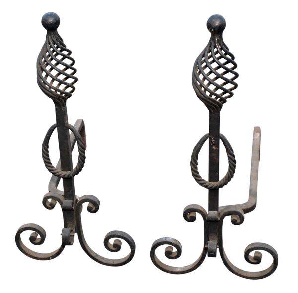 Pair of Wrought Iron Arts & Crafts Andirons - Andirons